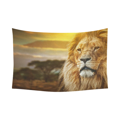 InterestPrint Sunset Nuture Wall Art Home Decor, African Animal Lion on Savanna Landscape Cotton Linen Tapestry Wall Hanging Art Sets