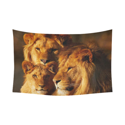 InterestPrint Safari Home Decor African Art Wildlife Tapestry, Three Lions Close together in the Forest Sunset  Cotton Linen Tapestry Wall Hanging Art Sets