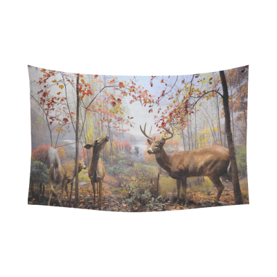 InterestPrint Autumn Landscape with Maple Leaves Wall Art Home Decor, Deer Reindeer in the Forest Cotton Linen Tapestry Wall Hanging Art Sets