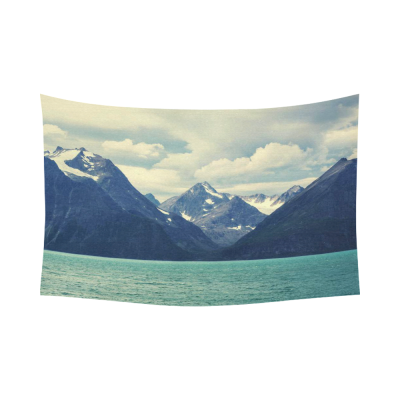 InterestPrint Snowy Nature Wall Art Home Decor, Northern Norway Mountains and Atlantic Coastline Cotton Linen Tapestry Wall Hanging Art Sets