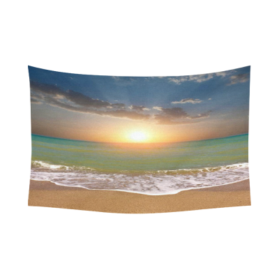 InterestPrint Seascape Wall Art Home Decor, Ocean Beach Sunset Cotton Linen Tapestry Wall Hanging Art Sets