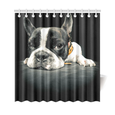 InterestPrint Funny Dog Animals Home Decor, A French Bulldog  Polyester Fabric Shower Curtain Bathroom Sets