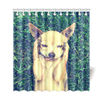 InterestPrint Funny Animals Home Decor, Cute Chihuahua Dog Paw on Head Polyester Fabric Shower Curtain Bathroom Sets