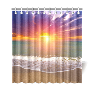 InterestPrint Island Seascape Sunset Over Sea Home Decor, Summer Tropical Beach Ocean Wave Polyester Fabric Shower Curtain Bathroom Sets