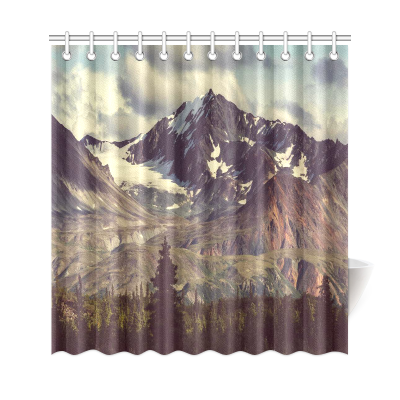 InterestPrint Landscapes on Denali Highway Home Decor, Natural Scene Mountains Forest Polyester Fabric Shower Curtain Bathroom Sets