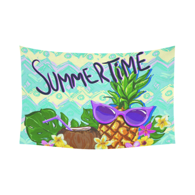 InterestPrint Summer Time Tropical Beach Wall Art Home Decor, Funny Hawaii Pineapple with Sunglasses Cotton Linen Tapestry Wall Hanging Art Sets