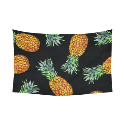 InterestPrint Summer Tropical Beach Theme Wall Art Home Decor, Hawaii Pineapple Cotton Linen Tapestry Wall Hanging Art Sets