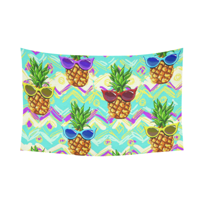InterestPrint Summer Tropical Beach Theme Wall Art Home Decor, Funny Pineapple with Sunglasses Cotton Linen Tapestry Wall Hanging Art Sets