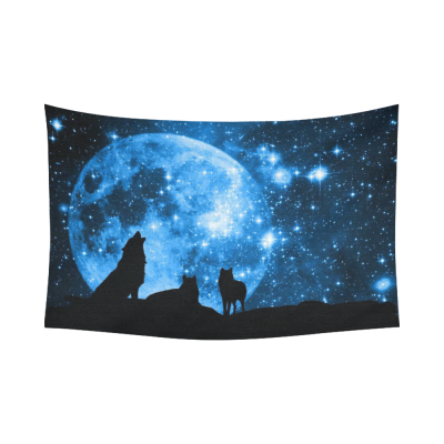 InterestPrint Moon at Night Scene Wall Art Home Decor, Wolves against a Blue Starry Sky Blue Cotton Linen Tapestry Wall Hanging Art Sets