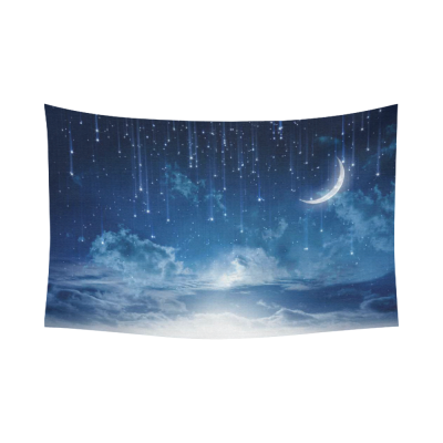 InterestPrint Peaceful Night Sky with Moon Stars Blue Cotton Linen Tapestry Wall Hanging Art Home Decor Sets