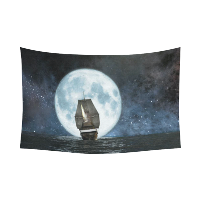 InterestPrint Ocean Wall Art Home Decor, Moon Boat and Reflection in the Water Artwork Cotton Linen Tapestry Wall Hanging Art Sets