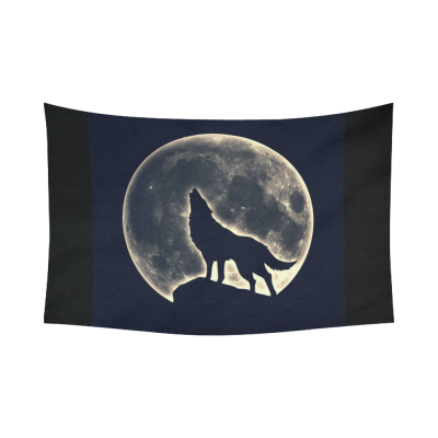 InterestPrint Night Sky Wall Art Home Decor, Wolf Howling Full Moon Cotton Linen Tapestry Wall Hanging Art Sets