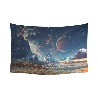 InterestPrint Universe Wall Art Home Decor, Alien Planet with a Moon And Mountains Cotton Linen Tapestry Wall Hanging Art Sets