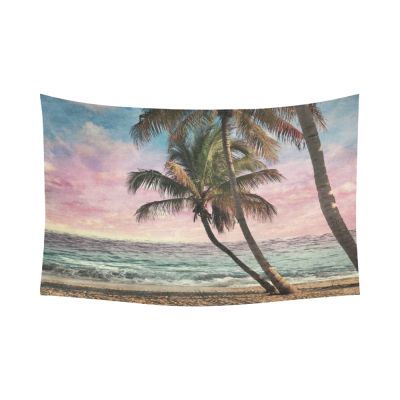 InterestPrint Tropical Beach at Sunset Wall Art Home Decor, Ocean Artwork Cotton Linen Tapestry Wall Hanging Art Sets