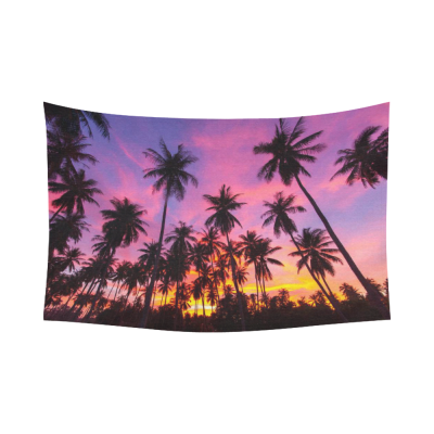 InterestPrint Beautiful Sunset Sky Wall Art Home Decor, Coconut Palm Tree Silhouette at Koh Samui, Thailan Cotton Linen Tapestry Wall Hanging Art Sets