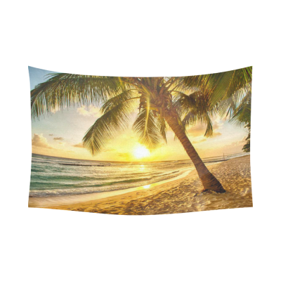 InterestPrint Seascape Wall Art Home Decor, Beautiful Sunset over the Ocean with a View at Palm Trees Cotton Linen Tapestry Wall Hanging Art Sets