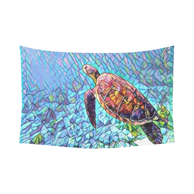 InterestPrint Nautical Ocean Wall Art Home Decor, Sea Turtle in the Deep Sea Cotton Linen Tapestry Wall Hanging Art Sets