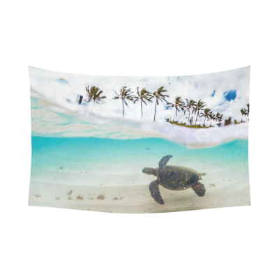 InterestPrint Ocean Theme Wall Art Home Decor, Beautiful Tropical Beach with Green Sea Turtle and Palm Tree Cotton Linen Tapestry Wall Hanging Art Sets