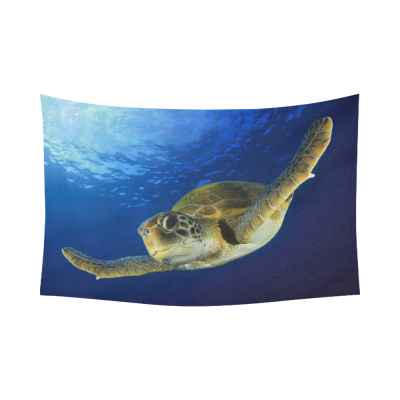 InterestPrint Underwater World Wall Art Home Decor, Green Turtle in the Deep Sea Cotton Linen Tapestry Wall Hanging Art Sets