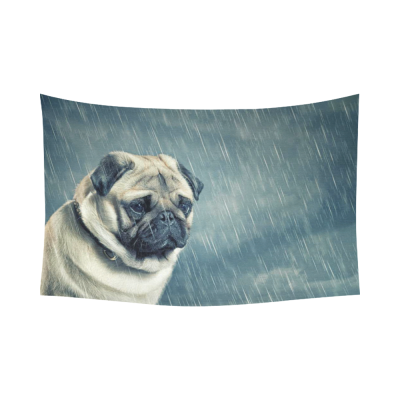 InterestPrint Animal Wall Art Home Decor, Sad Dog in the Rain Cotton Linen Tapestry Wall Hanging Art Sets
