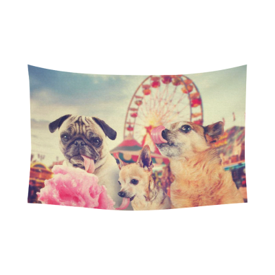 InterestPrint Cute Aniamal Wall Art Home Decor, Three Funny Dogs Cotton Linen Tapestry Wall Hanging Art Sets