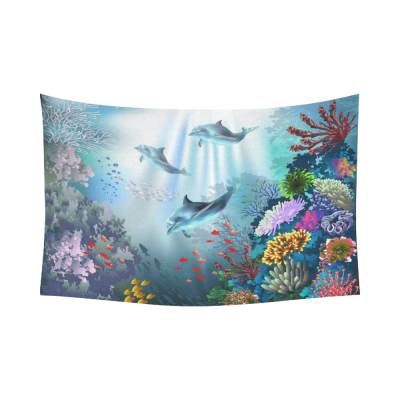 InterestPrint Cute Animal Wall Art Home Decor, Underwater World with Dolphins and Plants Cotton Linen Tapestry Wall Hanging Art Sets