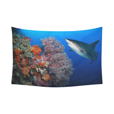InterestPrint Underwater Wall Art Home Decor, Great Shark Sea Animal Cotton Linen Tapestry Wall Hanging Art Sets