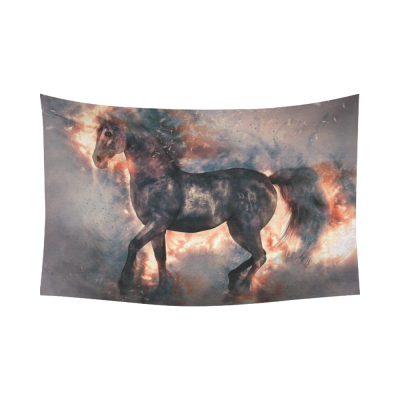 InterestPrint Black Horse Fire Unicorn Tapestry Wall Hanging Abstract Animal Wall Decor Art for Living Room Bedroom Dorm Cotton Linen Decoration