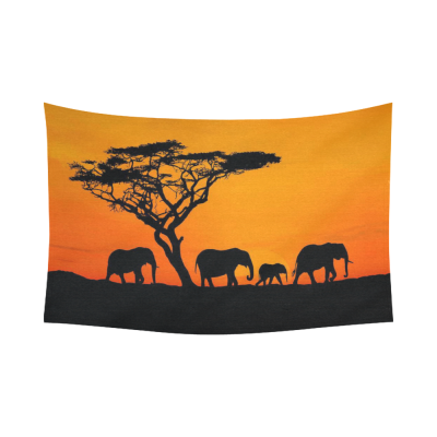 InterestPrint Africa Sunset Safari Elephant Tapestry Wall Hanging Wildlife Animal Wall Decor Art for Living Room Bedroom Dorm Cotton Linen Decoration