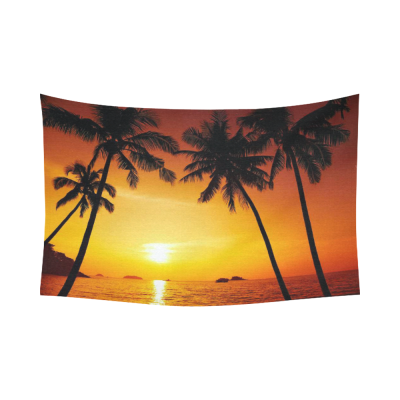 InterestPrint Island Palm Tree Sunset Tapestry Wall Hanging Orange Ocean Beach Seascape Wall Decor Art for Living Room Bedroom Dorm Cotton Linen Decoration