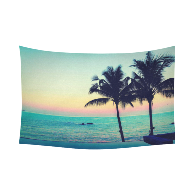 InterestPrint Twilight Sunrise Vintage Palm Tree Tapestry Wall Hanging Beach Sailboat Seascape Wall Decor Art for Living Room Bedroom Dorm Cotton Linen Decoration