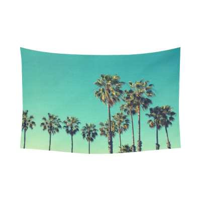 InterestPrint Sky Vintage Palm Tree Tapestry Wall Hanging Tropical Beach View Wall Decor Art for Living Room Bedroom Dorm Cotton Linen Decoration