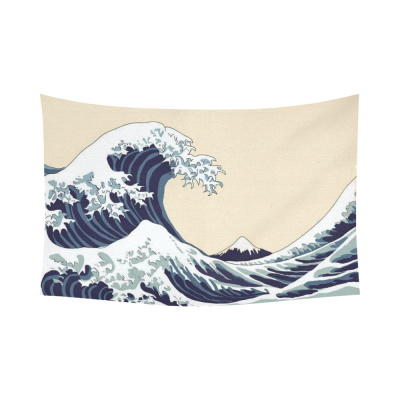 InterestPrint The Great Wave off Kanagawa Tapestry Wall Hanging Famous Japanese Ocean Wave Painting Wall Decor Art for Living Room Bedroom Dorm Cotton Linen Decoration