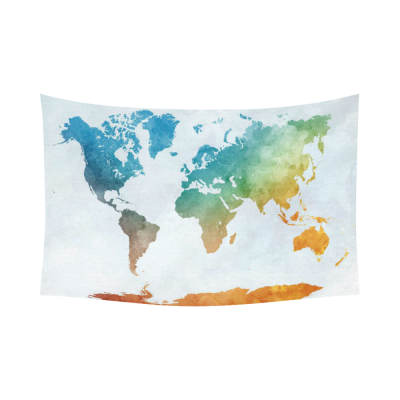 InterestPrint Colorful Watercolor World Map Tapestry Wall Hanging Abstract Art Splatter Painting Wall Decor Art for Living Room Bedroom Dorm Cotton Linen Decoration