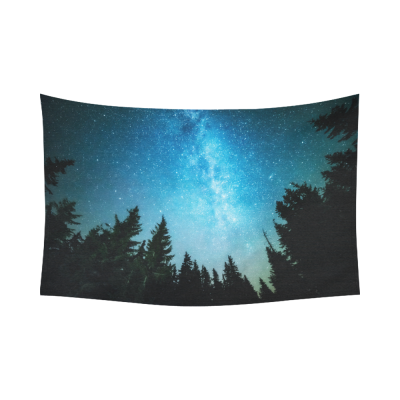 InterestPrint Night Sky Forest Tapestry Wall Hanging Starry Night Milky Way Celestial Wall Decor Art for Living Room Bedroom Dorm Cotton Linen Decoration
