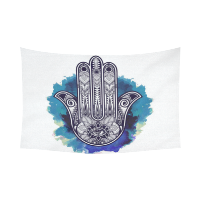 InterestPrint Indian Hippie Blue Watercolor Hamsa Hand Tapestry Wall Hanging Mandala Ethnic Arabic Wall Decor Art for Living Room Bedroom Dorm Cotton Linen Decoration
