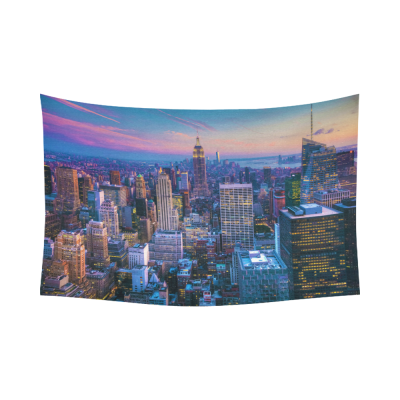 InterestPrint NYC New York Skyline Cityscape Tapestry Wall Hanging City Panoramic Sunset Wall Decor Art for Living Room Bedroom Dorm Cotton Linen Decoration