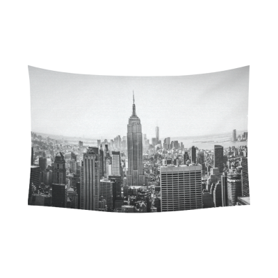 InterestPrint NYC New York Skyline Cityscape Tapestry Wall Hanging Black And White Empire State Building Wall Decor Art for Living Room Bedroom Dorm Cotton Linen Decoration