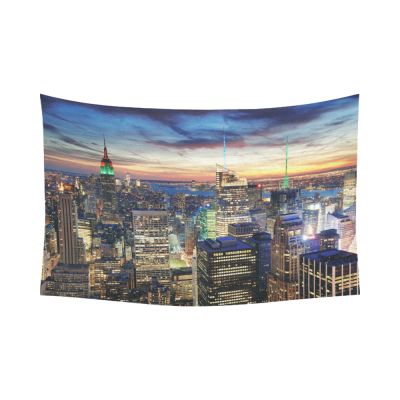 InterestPrint NYC New York City Skyline Cityscape Tapestry Wall Hanging New York Panoramic Sunset Wall Decor Art for Living Room Bedroom Dorm Cotton Linen Decoration
