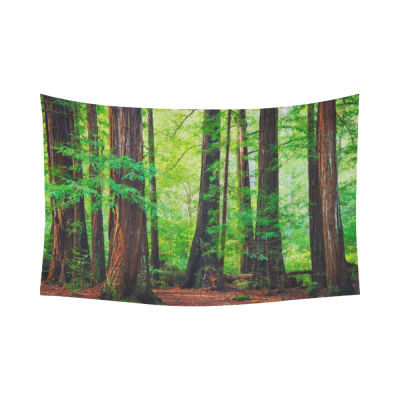InterestPrint Woodland Scenes Redwood Green Leave Trees Forest Tapestry Wall Hanging Tropical Wild Nature Wall Decor Art for Living Room Bedroom Dorm Cotton Linen Decoration
