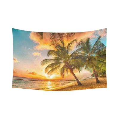 InterestPrint Coconut Palm Tree Ocean Sea Paradise Hawaii Beach Sunset Scenic Tapestry Wall Hanging Tropical Wall Decor Art for Living Room Bedroom Dorm Cotton Linen Decoration