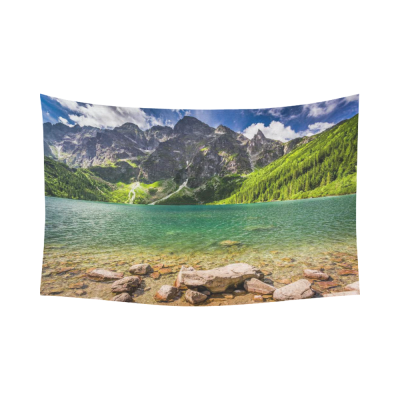InterestPrint Blue Sky Mountain Rocky Green Lake Tapestry Wall Hanging Natural Landscape Wall Decor Art for Living Room Bedroom Dorm Cotton Linen Decoration