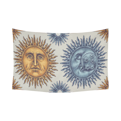 sun moon-S15C-02 Cotton Linen Wall Tapestry 90 x 60