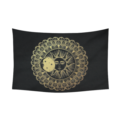 InterestPrint Eclipse Round Ornament Gold Sun Moon Stars Tapestry Wall Hanging Golden Mandala Boho Wall Decor Art for Living Room Bedroom Dorm Cotton Linen Decoration