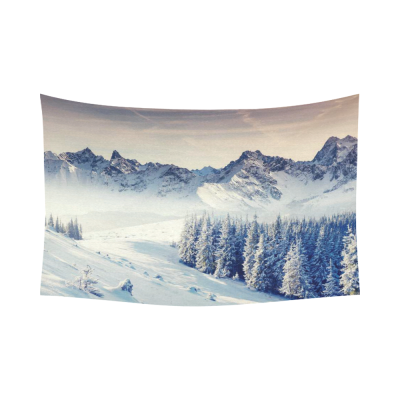 Interestprint Snowy Mountain Tapestry Horizontal Wall Hanging Dramatic Overcast Winter Sky Wall Decor Art for Living Room Bedroom Dorm Cotton Linen Decoration