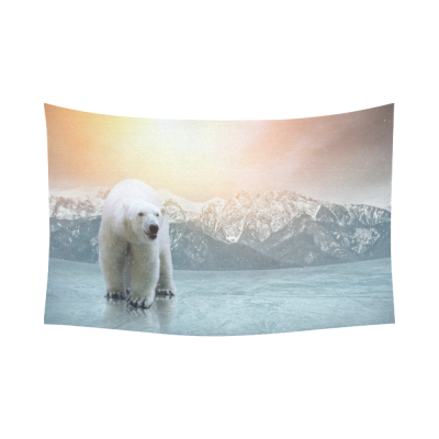 Interestprint White Polar Bear Tapestry Horizontal Wall Hanging Wild Animal Mountain Sunshine Wall Decor Art for Living Room Bedroom Dorm Cotton Linen Decoration
