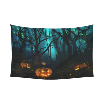 InterestPrint Halloween Pumpkin Jack O Lantern Tapestry Horizontal Wall Hanging Spooky Tree Forest Night Sky Wall Decor Art for Living Room Bedroom Dorm Cotton Linen Decoration