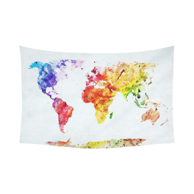 InterestPrint Watercolor Global Colorful World Map Tapestry Horizontal Wall Hanging Abstract Splatters Painting Wall Decor Art for Living Room Bedroom Dorm Cotton Linen Decoration