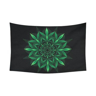 Interestprint Mandala Green Leaf Marijuana Tapestry Horizontal Wall Hanging Black Green Wall Decor Art for Living Room Bedroom Dorm Cotton Linen Decoration