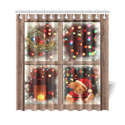 InterestPrint Christmas Lights Funny Bear Home Decor, Wooden Window View Polyester Fabric Shower Curtain Bathroom Sets with Hooks